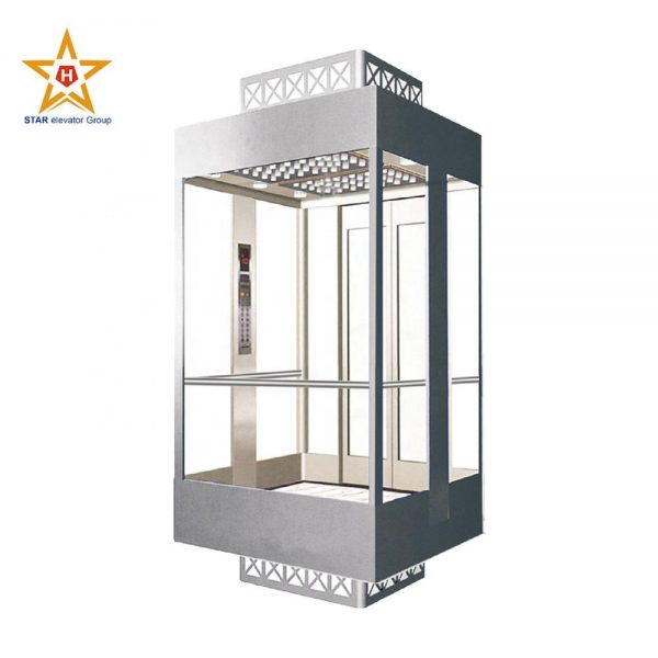 Gearless motor outdoor glass panoramic lift elevator for sale