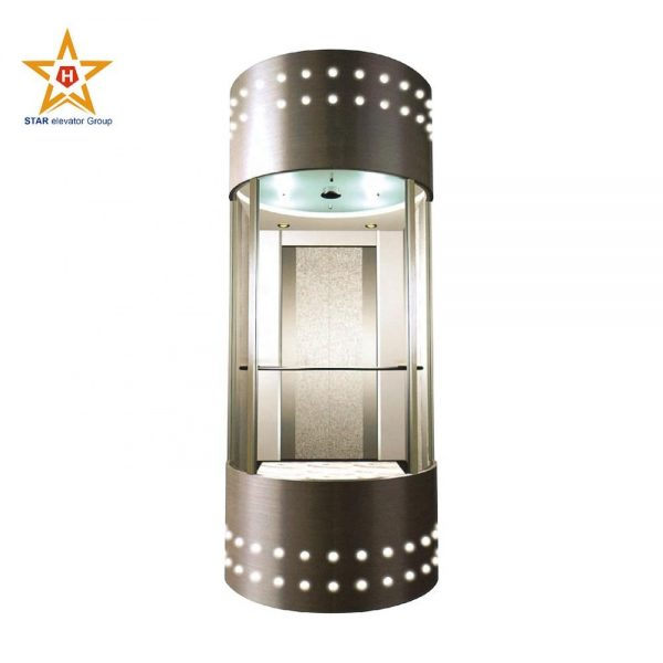 Stable and comfortable safety glass covered panoramic elevator for office building